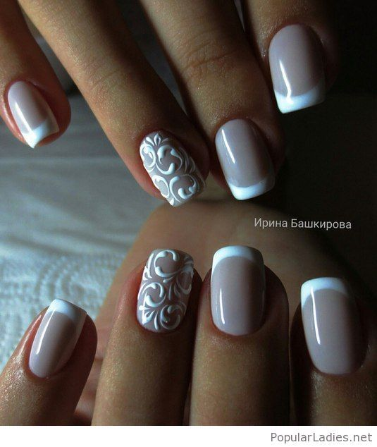 French Nail Art Design with Lace Details. I'd love to hear you thoughts -  what is the base colour for the nails? - 25 Wedding Nail Ideas That Are All You Need To Charm Your Tips For