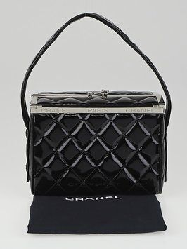 f919668b2857 Get one of the hottest styles of the season! The Chanel Quilted Patent  Leather Box Evening Black Tote Bag is a top 10 member favorite on Tradesy.