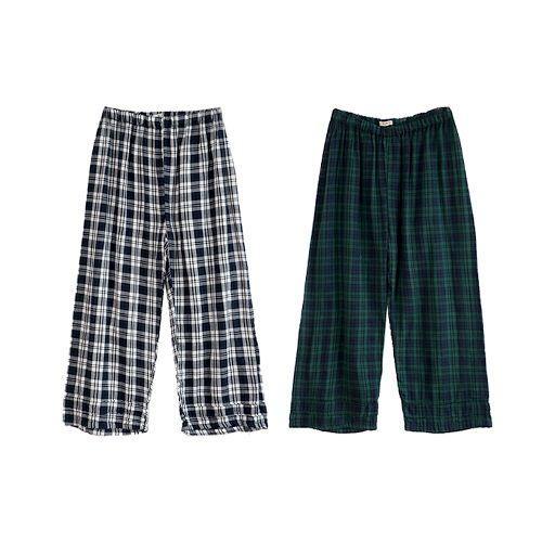 Plaid Cotton Cropped Pants