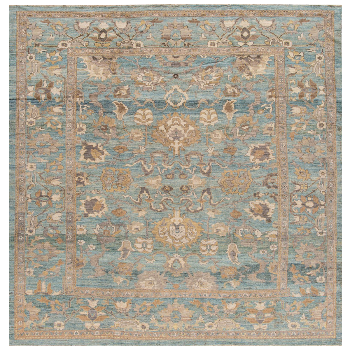 Hand Knotted Floral Persian Sultanabad Rug 9 9 X 10 Rugs On Carpet Rugs Rug Texture