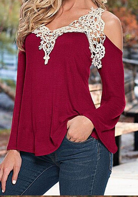bb5d028c3e244 Wine Red Patchwork Lace Cut Out Long Sleeve Blouse