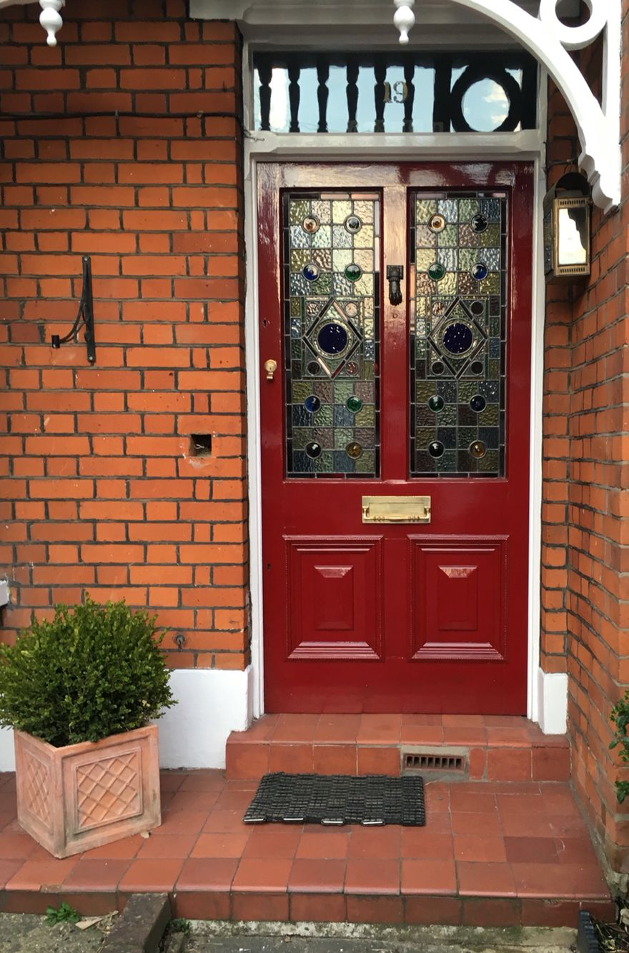 Bright Red Door With Stained Gl Panels Knockknock Doors Frontdoor Woodendoor Entrance Exterior Letterbox Doortraits Redfrontdoor Reddoor