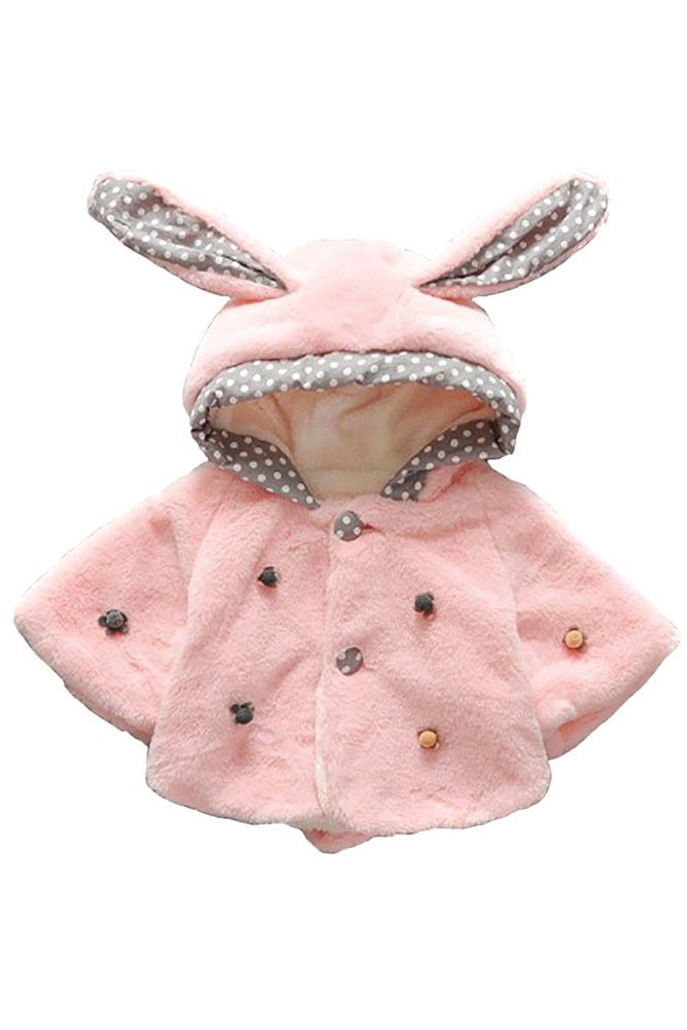 11f673f53715 Pink Baby Girls Faux Fur Bunny Rabbit Ear Hoodie Jacket