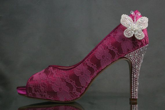 Wedding Shoes  Fuschia Peep Toe Wedding by DesignYourPedestal, $323.00