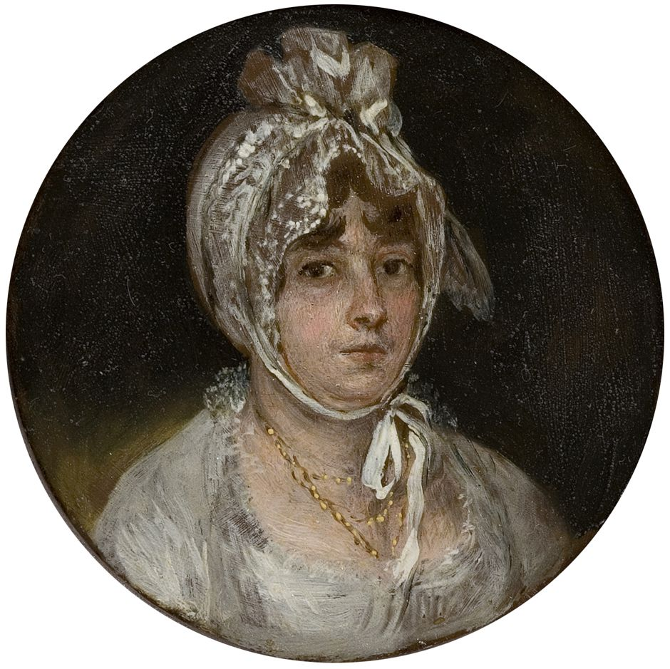 Francisco De Goya Juana Galarza De Goicoechea Oil On Copper Strip 81 Mm Diameter 1805 Museo Nacional Del P Retratos Obras De Goya Museo Del Prado Madrid