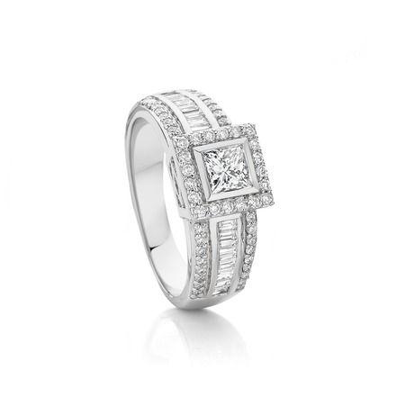 18ct White Gold Princess Cut Diamond Ring Angus Coote Diamond