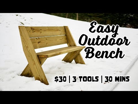 Free Plans Detailing Exactly How To But A Modern Diy Outdoor Bench With Back In 30 Minutes With Only 3 Tools In 2020 Diy Bench Outdoor Outdoor Bench Bench With Back