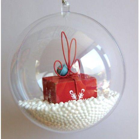 Boule de noel transparente a remplir 10cm boule de noel transparente boules de no l et - Boule noel transparente ...
