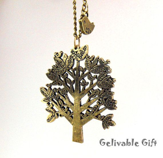 Vintage style Tree Necklace with little bird