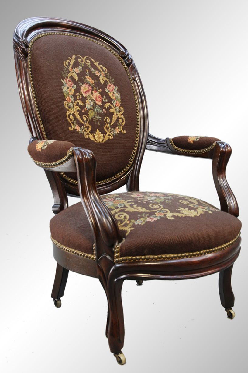needlepoint chairs | ... Sold / 16123 Antique Victorian Needlepoint  Gentleman's Arm Chair - Needlepoint Chairs Sold / 16123 Antique Victorian