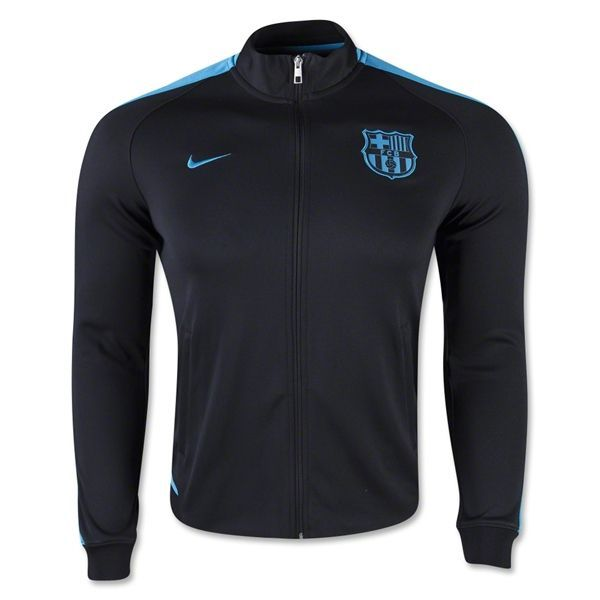 1c6aa05a8910 Nike Men s FC Barcelona Authentic N98 Jacket Black Light Current Blue