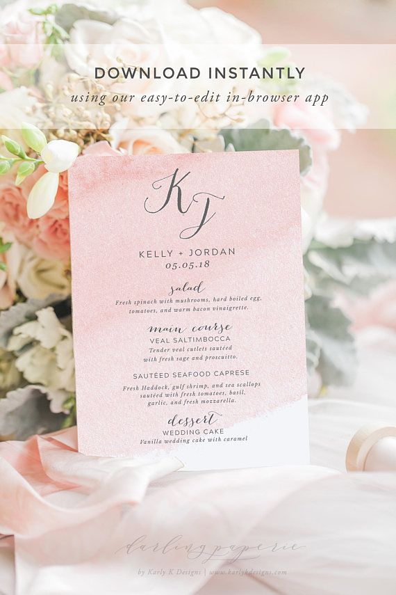 blush wedding menu template wedding menu printable wedding menu