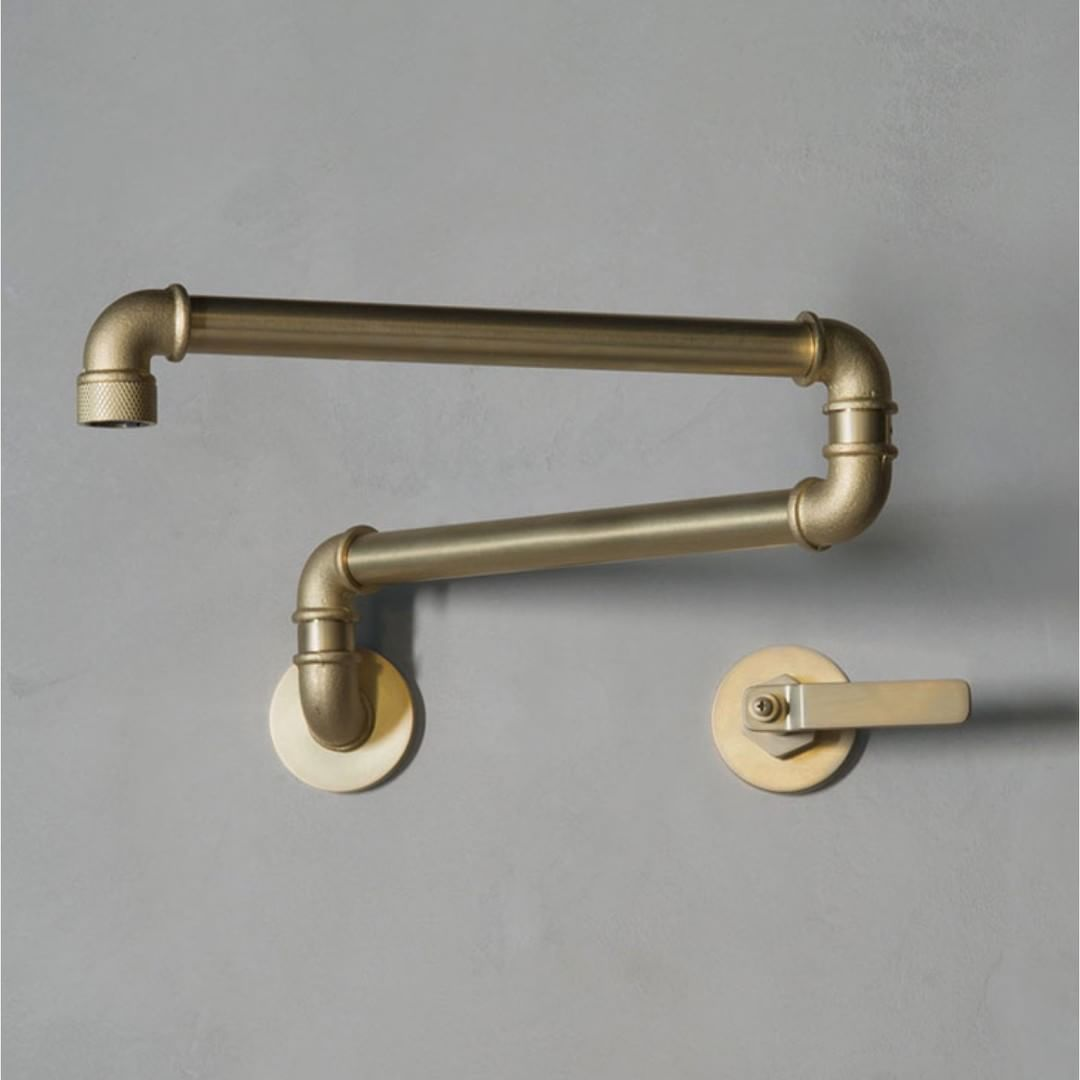 Elan Vital Elv74 Wall Mounted Articulated Kitchen Spout In Brushed Brass Which Finish Is Your Favourite Indu Watermark Design Industrial Faucet Kitchen Taps