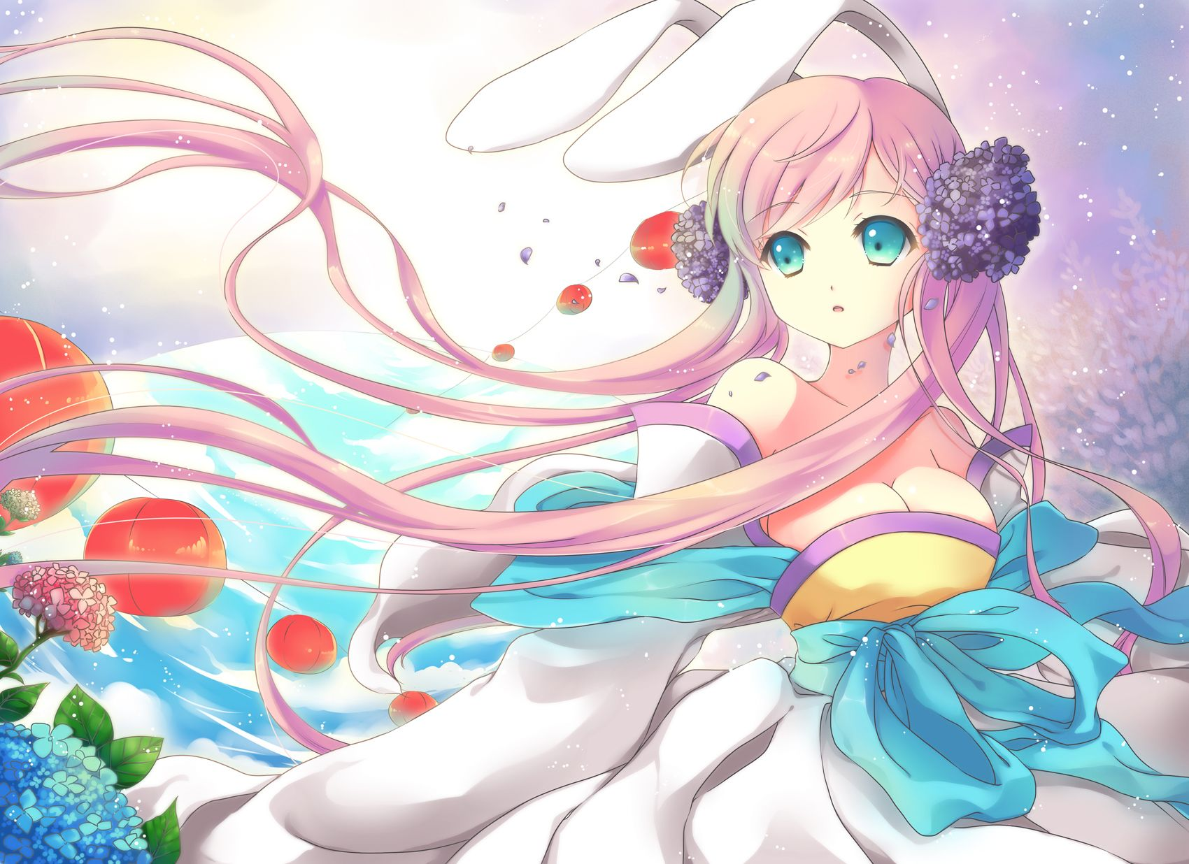 Anime girl with pink hair blue eyes kimono purple red blue flowers lanterns and bunny ears