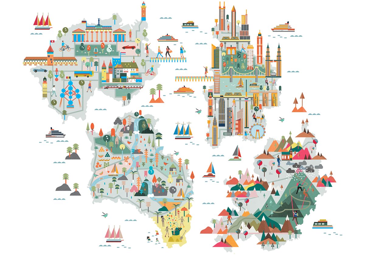 Illustrations For Baloise Insurance Group Illustrated Maps For The Baloise Travelguide Through The World Of Insurance Each Map Tells Disenos De Unas