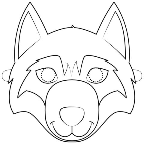 Wolf Mask Coloring Page Printable Animal Masks Animal Mask Templates Wolf Mask