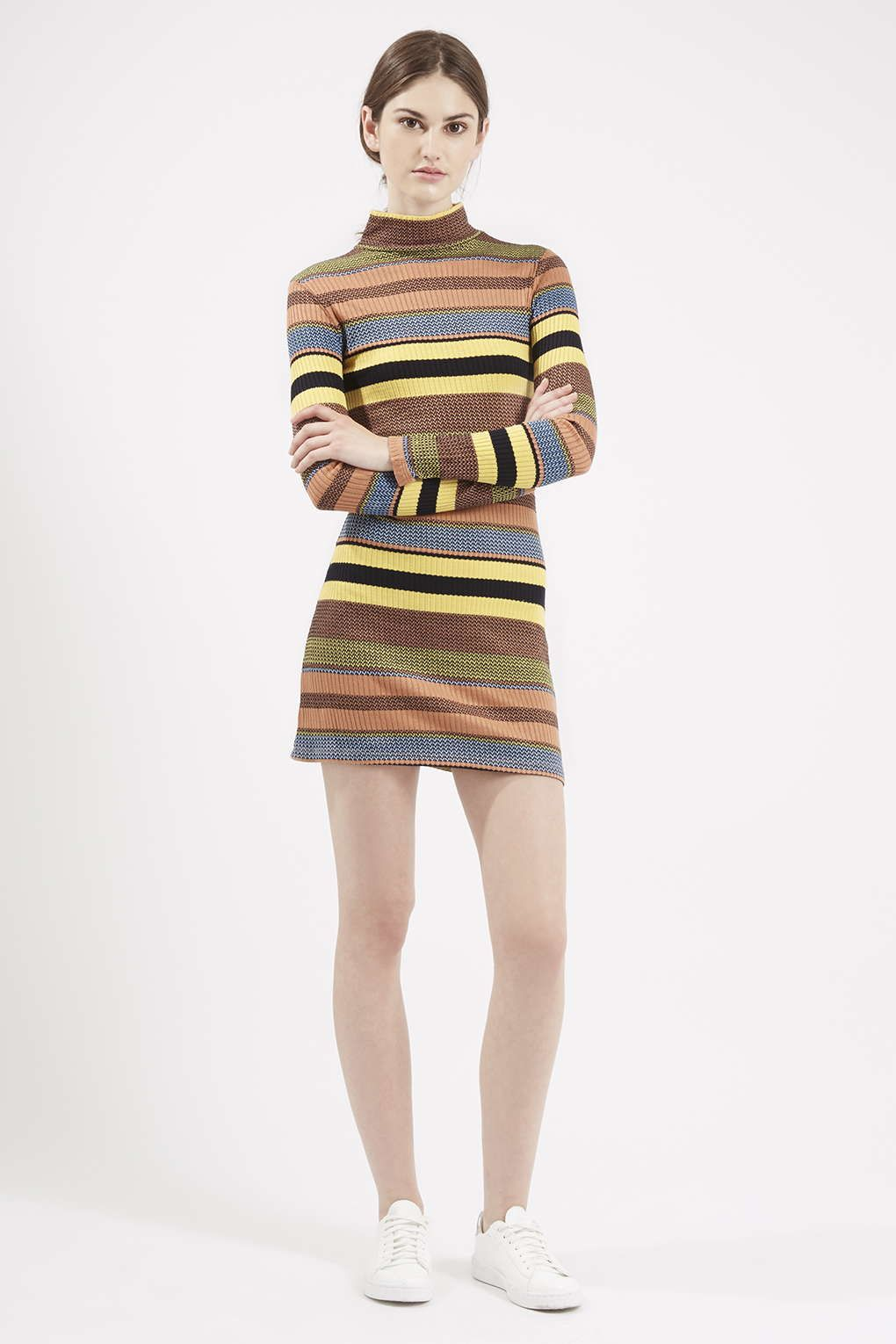 70s Stripe Roll Neck Tunic - Dresses - Clothing