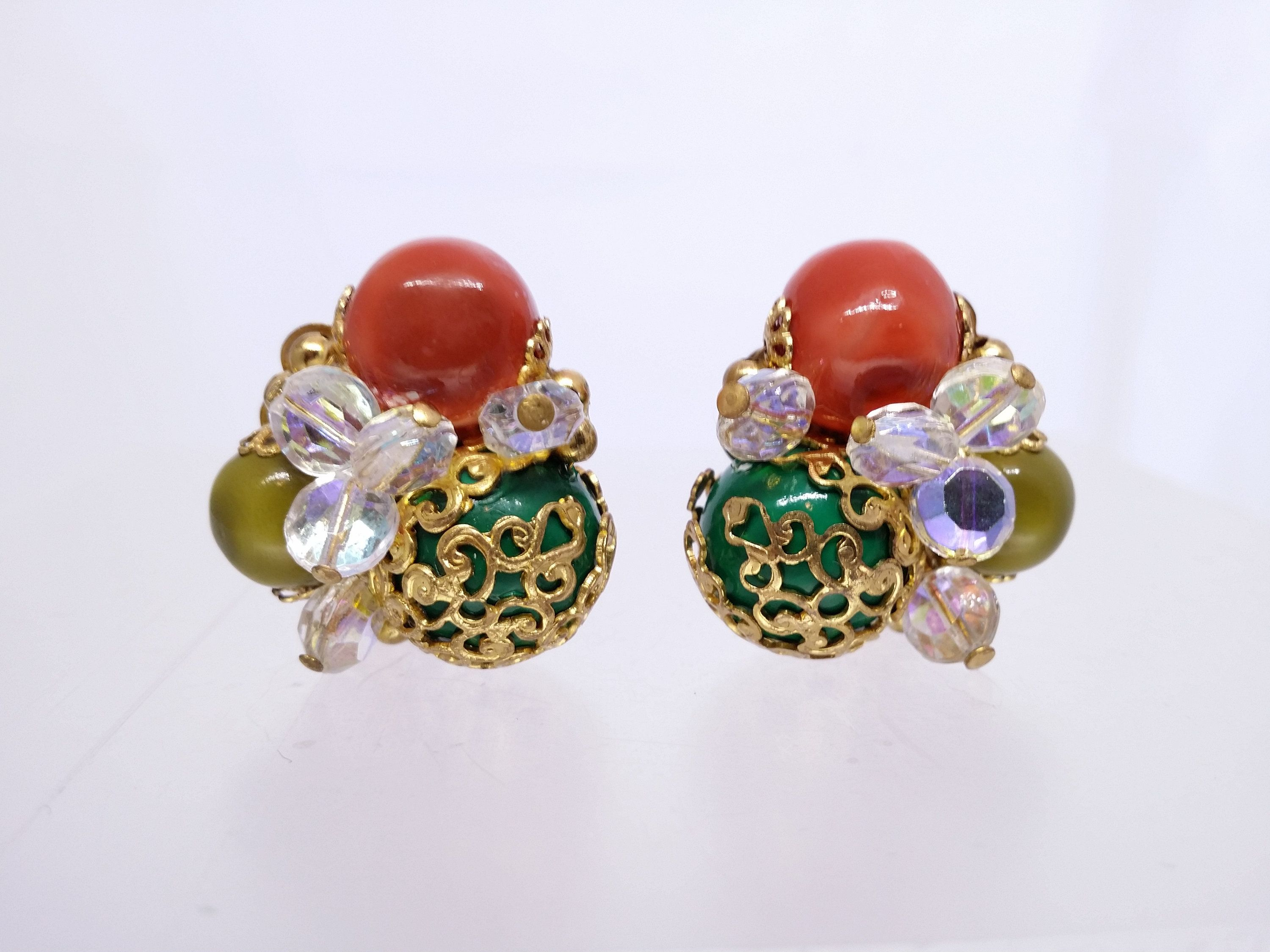 Beaded Clip On Earrings Green Gold Filigree Cluster Earrings