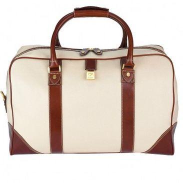 Weekender Travel Bag in Beige Canvas with Smooth Cognac Trim