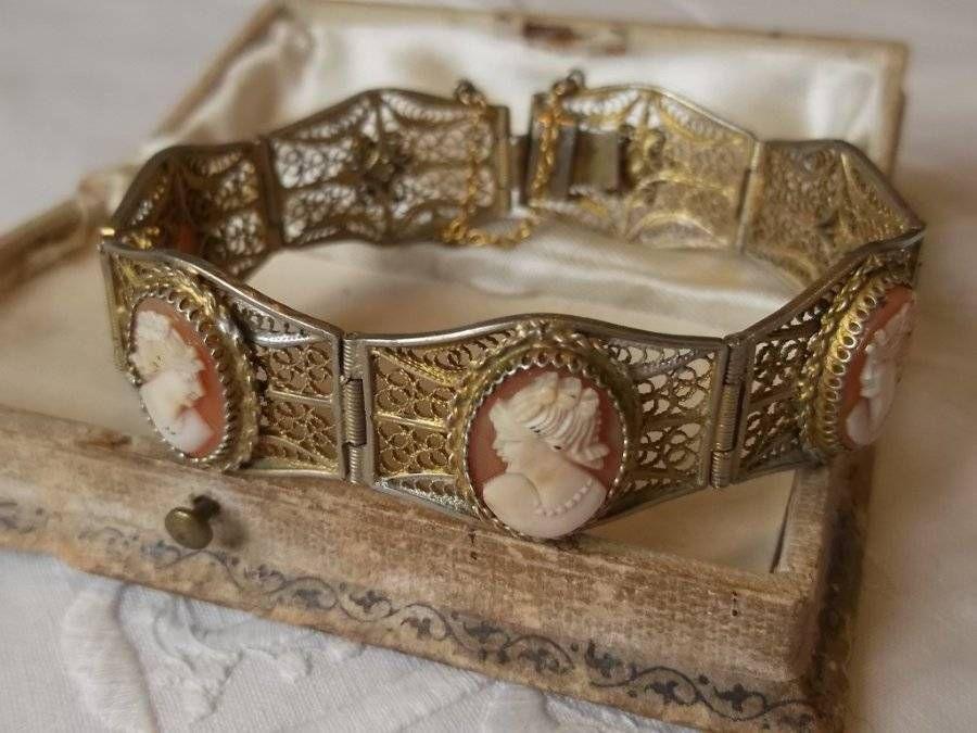 ANTIQUE VINTAGE VICTORIAN GOLD VERMEIL 800 SILVER FILIGREE SHELL CAMEO BRACELET
