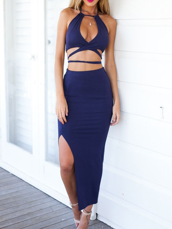 Navy Halter Cross Crop Top With Slipt Midi Pencil Skirt | Summer ...