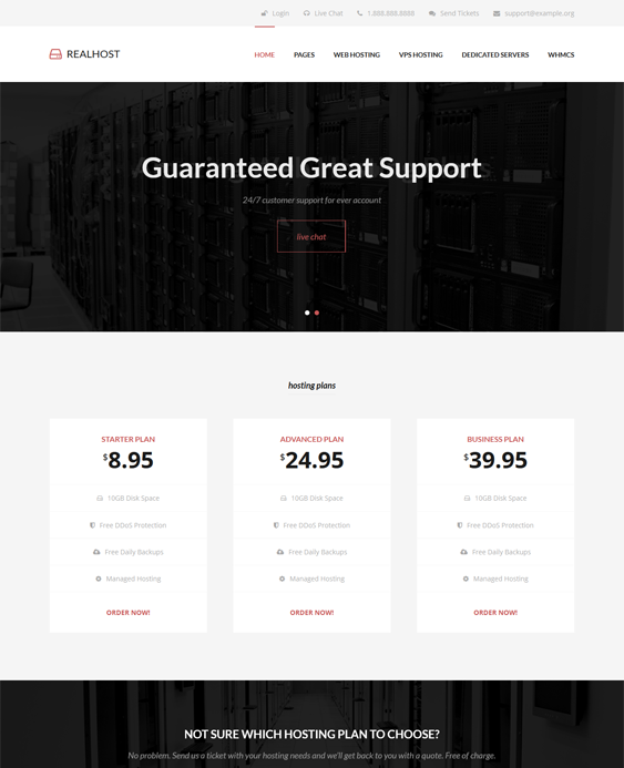 This web hosting WordPress theme offers custom shortcodes and ...