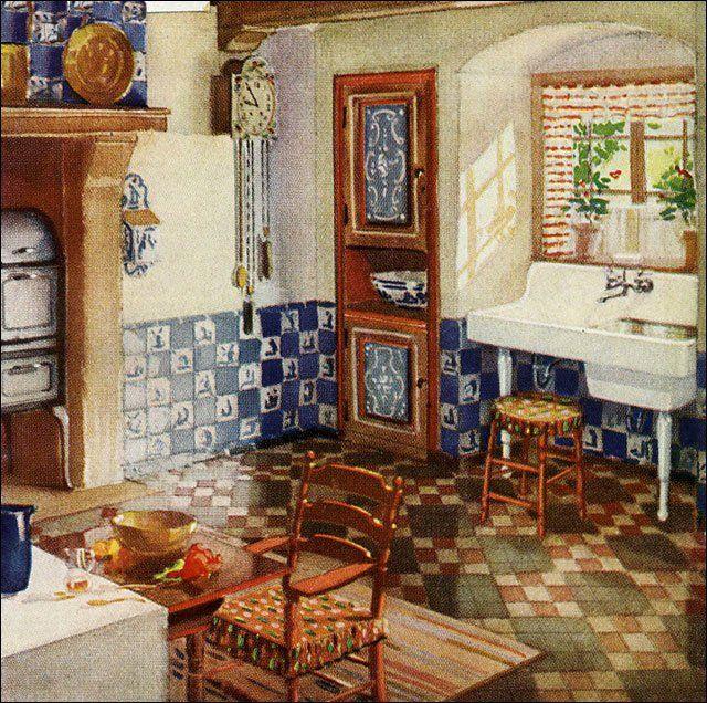 1929 kitchen with delft tile european folk style kitchens for 1920 kitchen design ideas