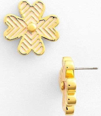 Tory Burch Shawn Pink Shell/ Gold Stud Earrings Four Leaf Clover 16K Gold Plate - http://elegant.designerjewelrygalleria.com/tory-burch/tory-burch-shawn-pink-shell-gold-stud-earrings-four-leaf-clover-16k-gold-plate/