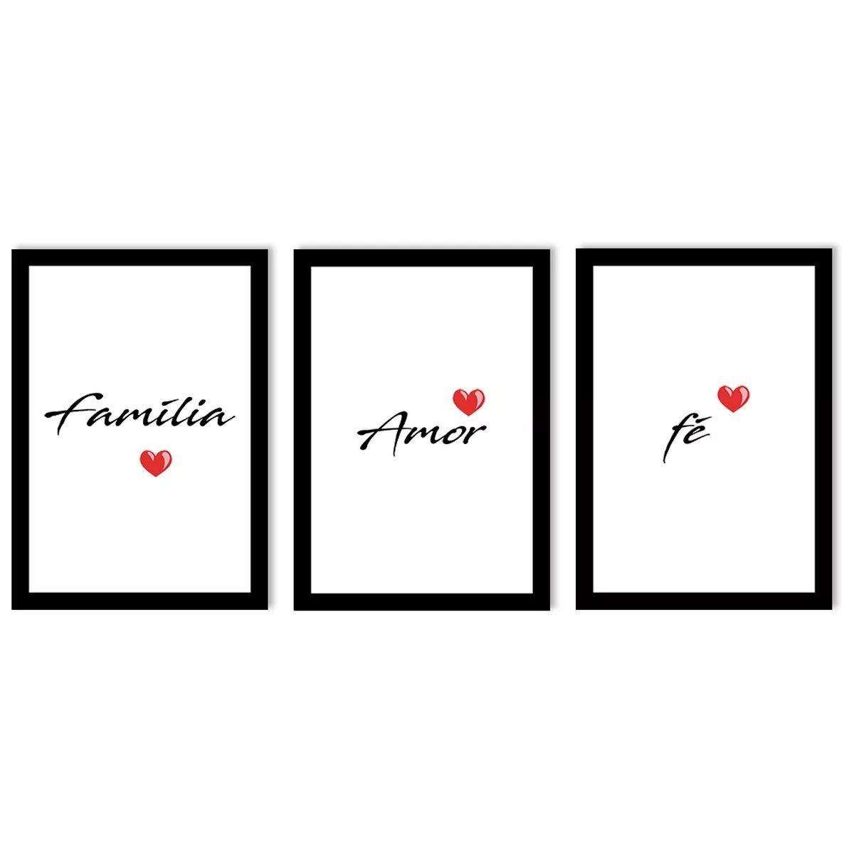 7301a7821 Maravilhoso Kit com 3 Quadros Decorativos Palavras Família Fé Gratidão com  coração vermelho para Sala Quarto