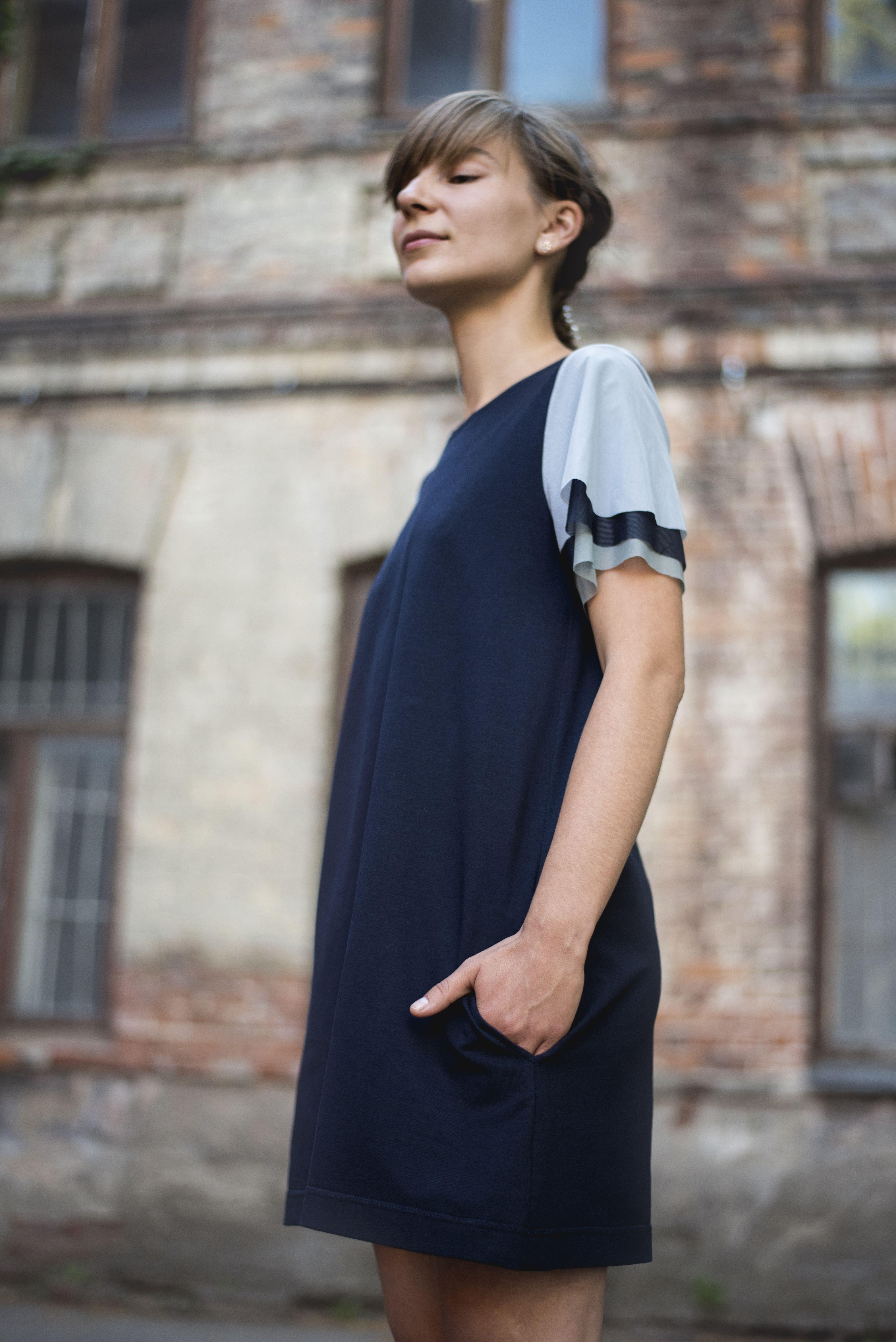Summer dress short sleeve dress dark navy blue dress loose fit