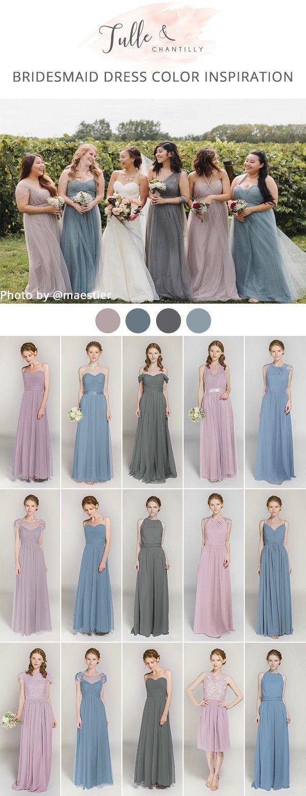 Lavender blush and dusty blue mismatched bridesmaid dresses