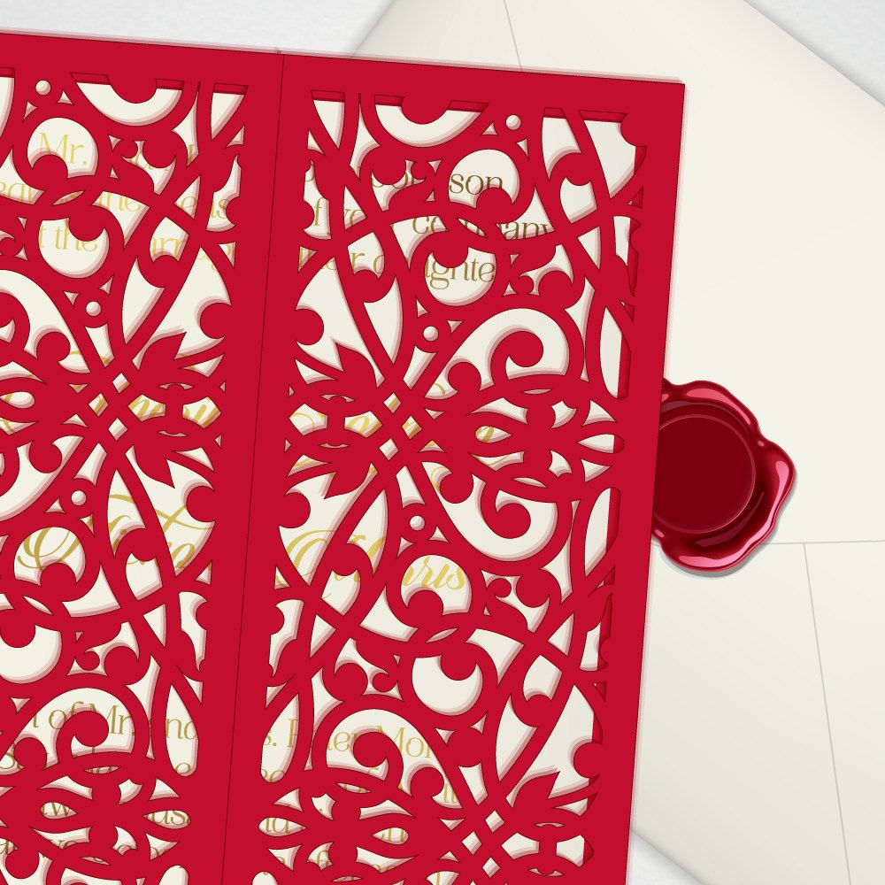 Digital template for laser cut wedding invitation, printable 5x7 ...