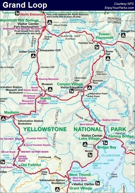 The Grand Loop, Yellowstone National Park | Maps in 2018 | Pinterest ...