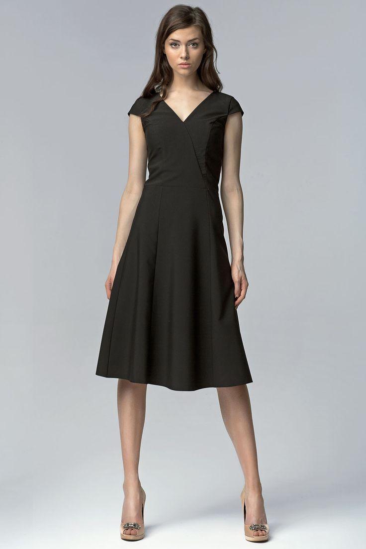 Nice cocktail dresses black v neck cross bodice seam dress with cap