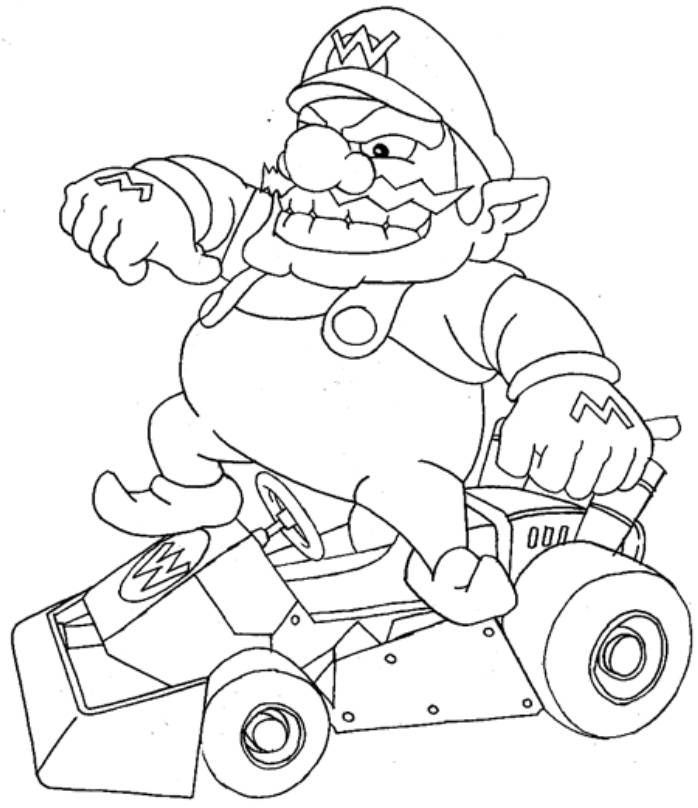 wario mario coloring page for kids - Mario Kart Coloring Pages