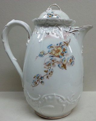 German Porcelain Tea Pot Gilded Embossed White Bavarian China Blue Floral Teapot
