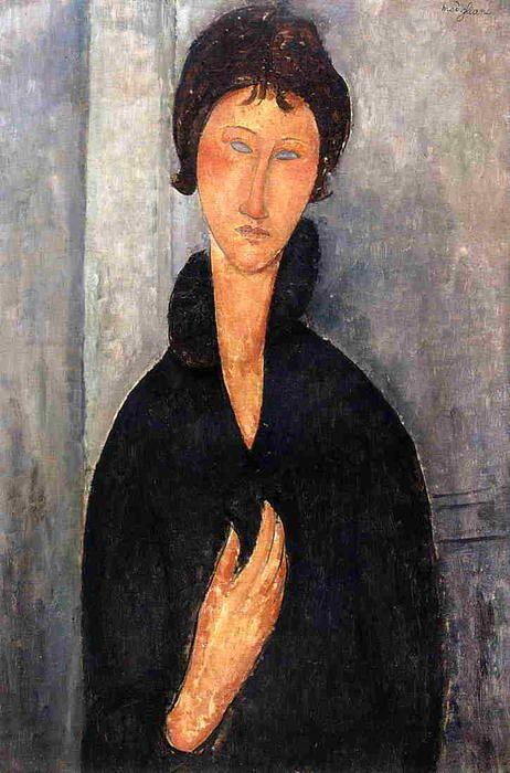 'frau mit blau augen', öl auf leinwand von Amedeo Modigliani (1884-1920, Italy)
