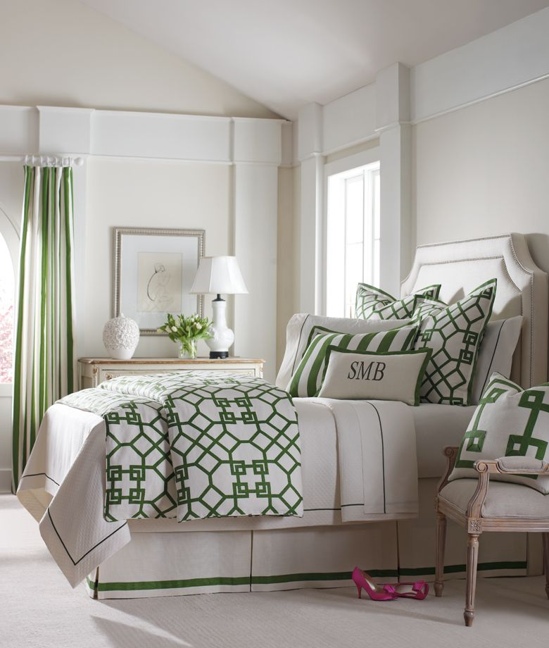 Green & Ivory Trellis details pops against the clean lined headboard! Design by Windsor Smith