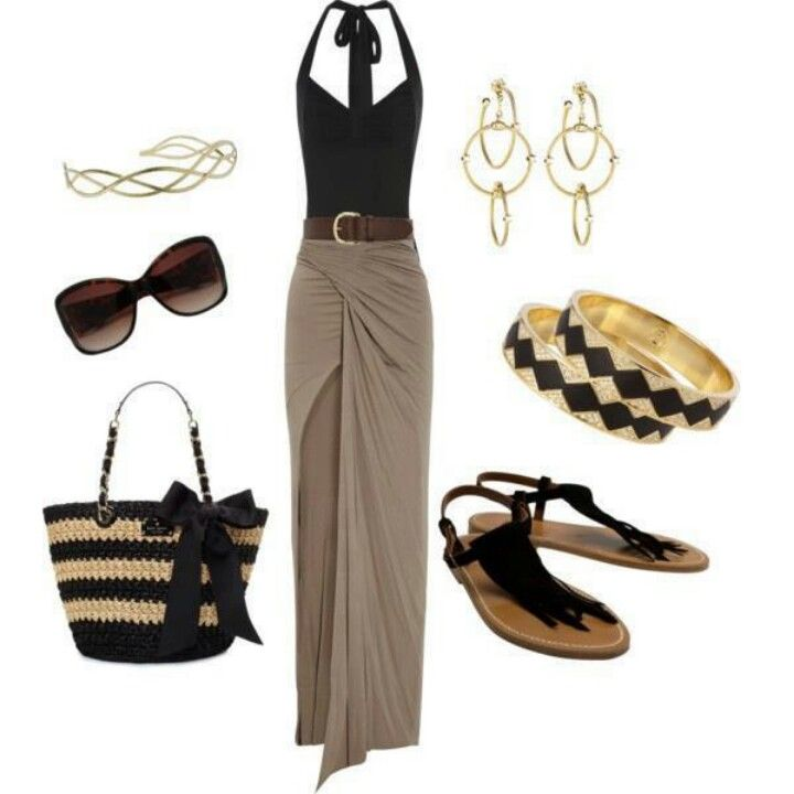 Black and brown skirt outfits ....love this