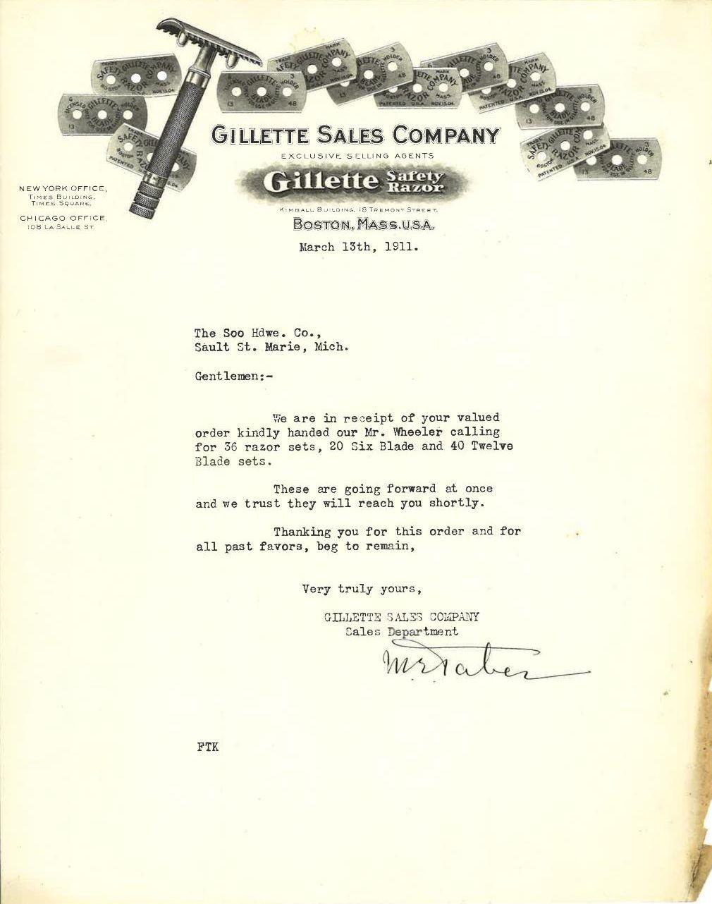 Gillette Sales Company Letterhead Sales Receipt  Wet Shaving