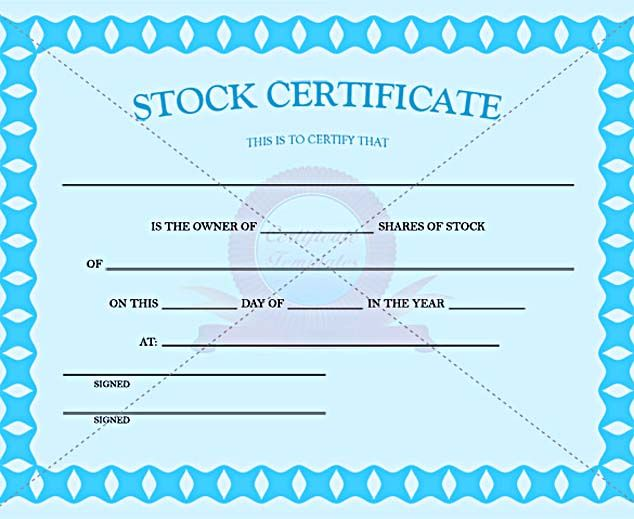 Blue Color Stock Certificate Template Pdf , Stock Certificate