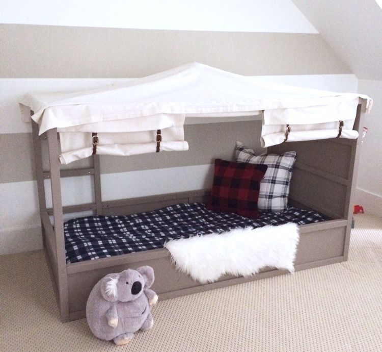 ikea kura bett umgestalten grau zelt idee stoff zuk nftige projekte pinterest kinderzimmer. Black Bedroom Furniture Sets. Home Design Ideas