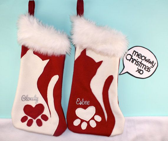 Red and White Christmas Stockings For Cats by TheStockingShoppe