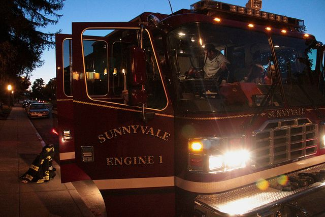 Tours of Engine 1 at Ponderosa Park for National Night Out