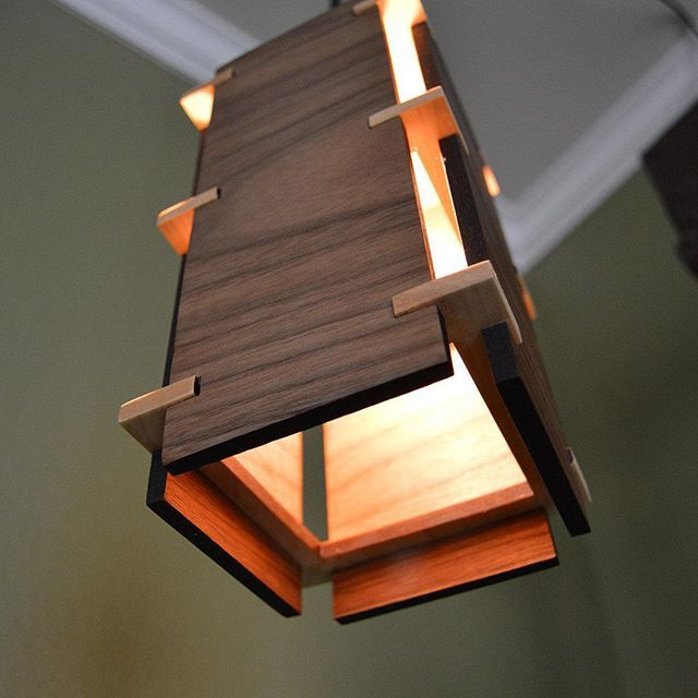 Square wooden pendant light design handmade lightfixture modern simple wood