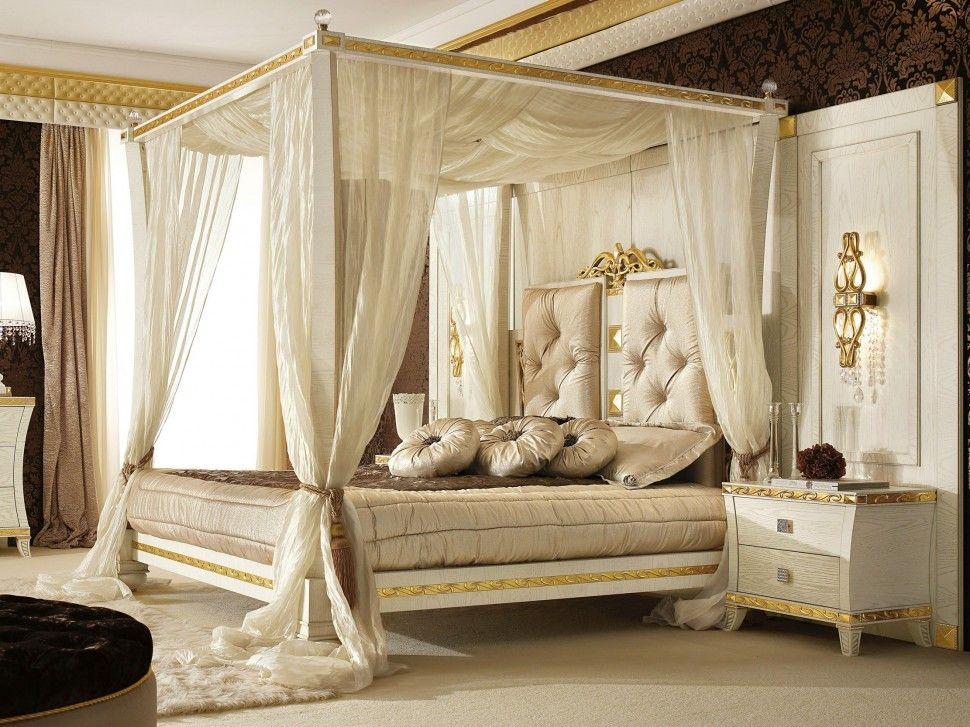Bedroom Luxury Canopy Bedroom Sets For Elegant Bedroom Design With Black Floral Theme And White Fur R Canopy Bedroom Sets Canopy Bedroom King Size Canopy Bed