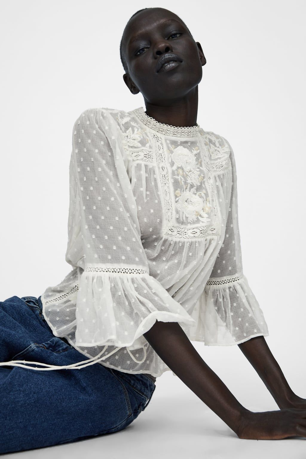 ef2040b3 Image 4 of EMBROIDERED ROMANTIC BLOUSE from Zara | Wish list ...