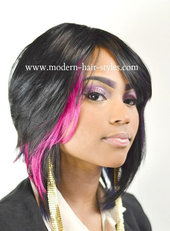 Quick weave bob with pink accents underneath.