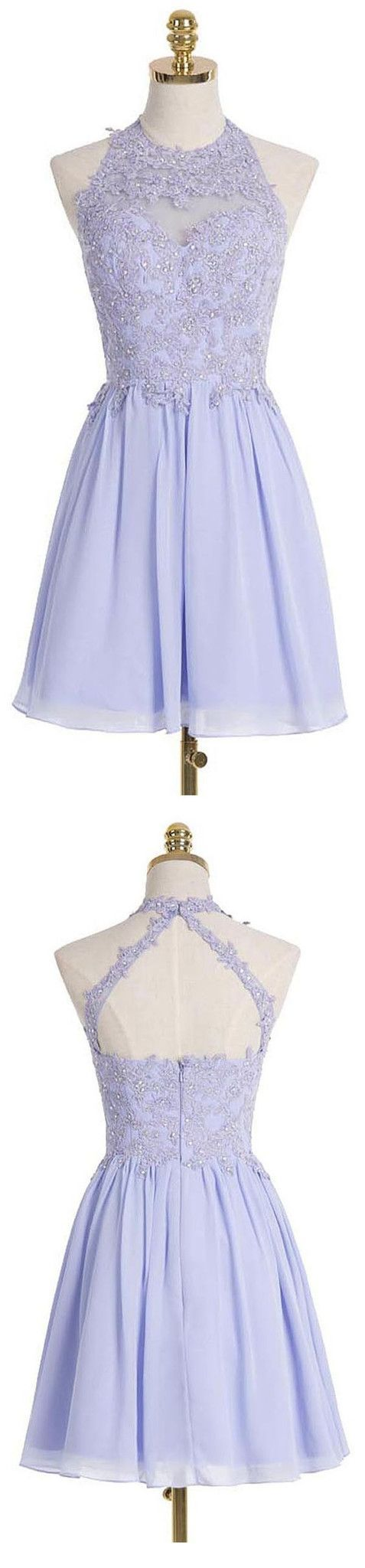 Aline halter short lilac chiffon homecoming dress appliques crystal