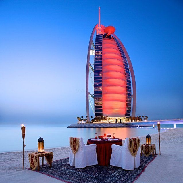 This iconic, sail-shaped #Dubai resort redefines the word extravagant beyond your most unimaginable dreams. Enjoy a private dining experience at the Burj Al Arab, Dubai! #sailboat